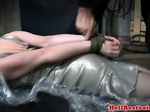 Masked sub in full body encasement