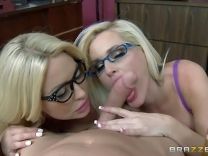 Big racked blondes with glasses team up to share guys fat cock in threesome...