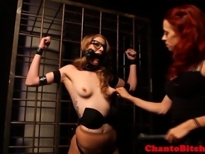Lezdom blonde skank being punished