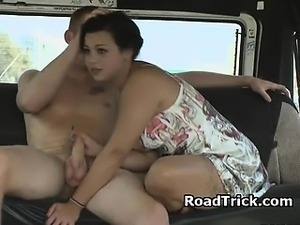 Hot Brunette In Sun Dress Sucking Dick In Back of Van