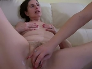 European mature and young lady toying each other
