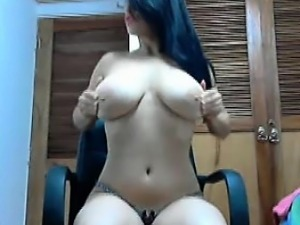 Busty columbian babe dances and teases