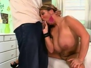 Chubby mature with great tits with a cock in all holes