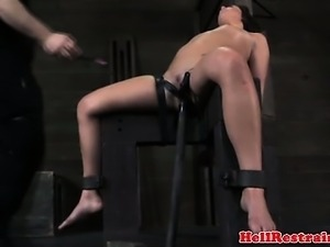 Filthy sub spanked while getting toyed