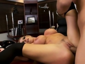Stockinged office babe Nikki Benz fuck
