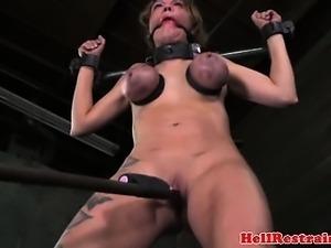 Filthy sub in tit bondage getting toyed