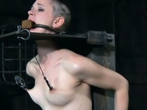 TT sub gagged and toyed while in stocks