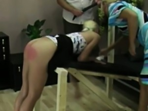 Red spanked girl asses