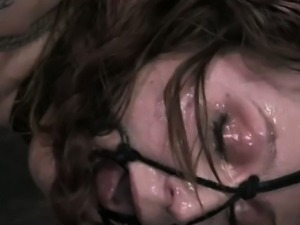 Tattooed sub gagged and drooling