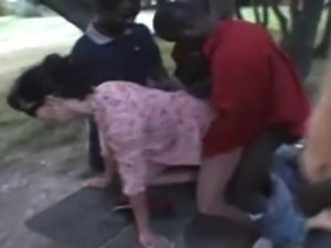 french wife nadine takes blacks in a public park