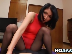 Asian Beauty Wearing Pantyhose