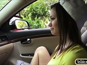 Cutie teen London Smith pounded by stranger inside the car