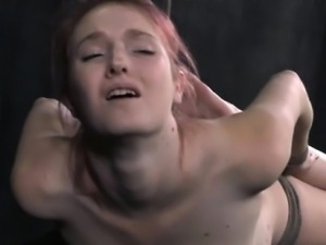 Bondage slut hogtied and dripping wet