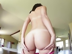 Lovely dark haired chick Dillion Harper pulls down her pink panties and shows...