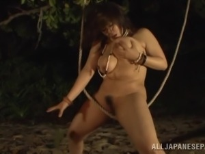 big breasted japanese slut dances on the beach