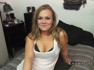 Curvy girlfriend sucking and fucking on sex tape