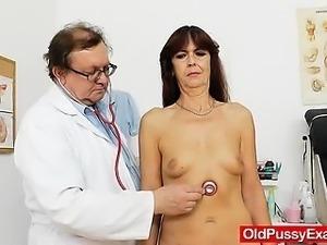Lada the horny gramma got her hirsute pussy examined