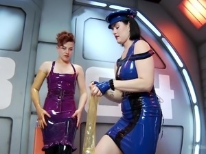 latex mistress has a latex slave @ latex fetish