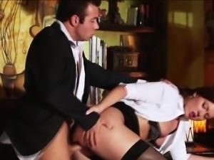 Horny secretary gets tight pussy fuck