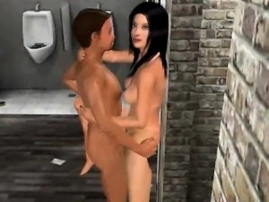 Sexy 3D brunette babe gets fucked in the bathroom