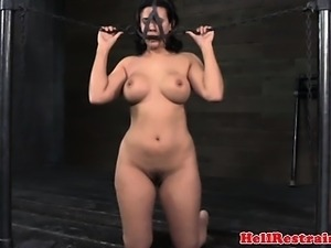 BDSM sub restrained from head to toe