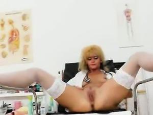 Patricie the blond madam caretaker masterbates plus