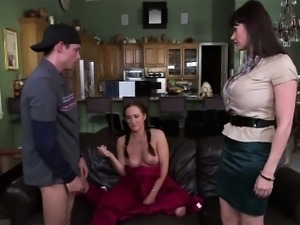 Step mom catches them fucking in couch