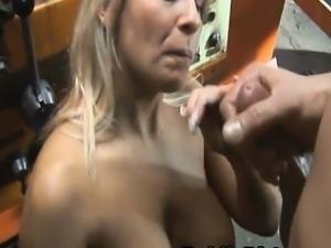 Big Titty Blonde Fucked And Cumshot In Public Garage
