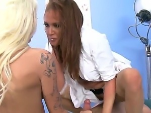Tory Lane and Tyler Nixon playing bad and good doctor with Rikki Six