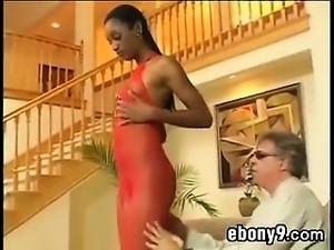 Ebony Babe Riding White Cock Outside