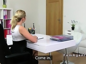 Blonde female agent eats pussy on casting