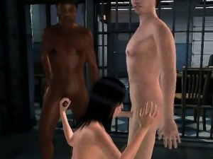 3D brunette gets an interracial double teaming
