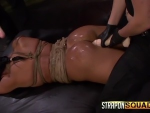 tied up lesbian fucked with strap on