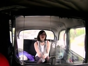 British brunette wanks and sucks in fake taxi