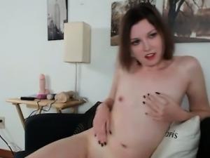 Hot chick in red lengerie strips naked rubbin