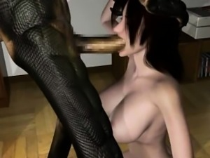 Busty 3D anime slut riding cock