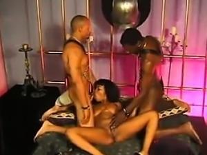 Sexy Black Slut In A Dark Threesome