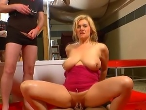 Busty German piss whore gets fucked hard in orgy
