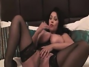 Busty British Beauty In Stockings Masturbates