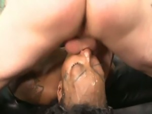 Kayla Ivy gives a messy deepthroat on a white cock