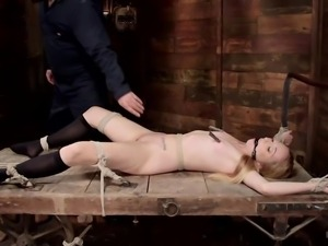 blonde babe gets bonded by a merciless executor