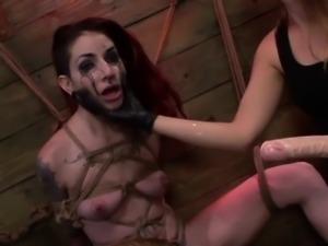 Tattooed strapon slut suspended bondage scene