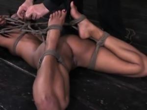 Ebony sluts frogtie hogtie bondage scene