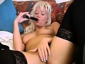 Blonde Officer Strips And Masturbates