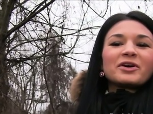 Beautiful Czech babe sucking dick in public pov