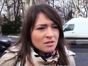 Amateur brunette Czech girl fucked in the car for money