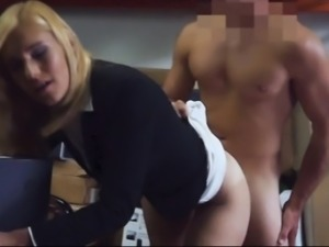 Sexy blonde milf screwed at the pawnshop and gets payed