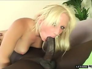 Voluptuous blonde beauty has a dark stallion hammering her juicy twat
