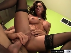Big breasted milf in stockings Veronica Avluv takes a dick up her ass