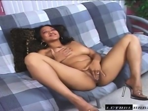 Ethnic cutie with lovely boobs Loni Punoni has fun with a black stud